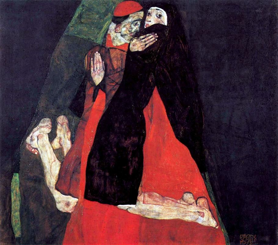 Cardinal and Nun or The caress by Schiele.jpg