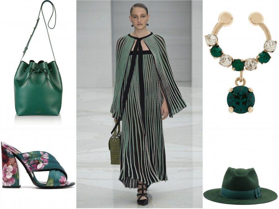 Accessori verdi per la primavera 2016 (look Salvatore Ferragamo)
