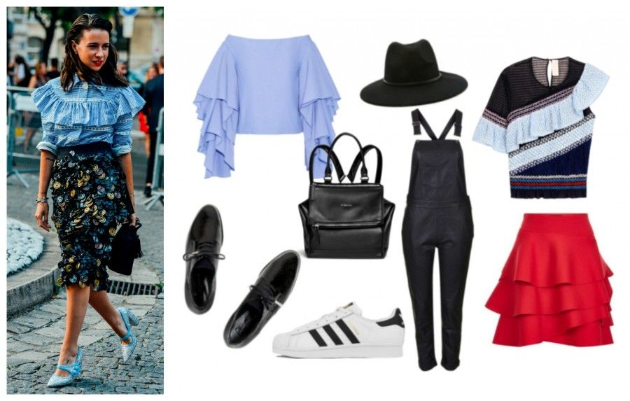 bc15163cdf8dff Camicia: Rosie Assoulin, cappello: Forever21, t-shirt: Peter Pilotto,  gonna: DKNY, jumpsuits: Topshop, zaino: Givenchy, sneakers: Adidas  Superstar e scarpe ...
