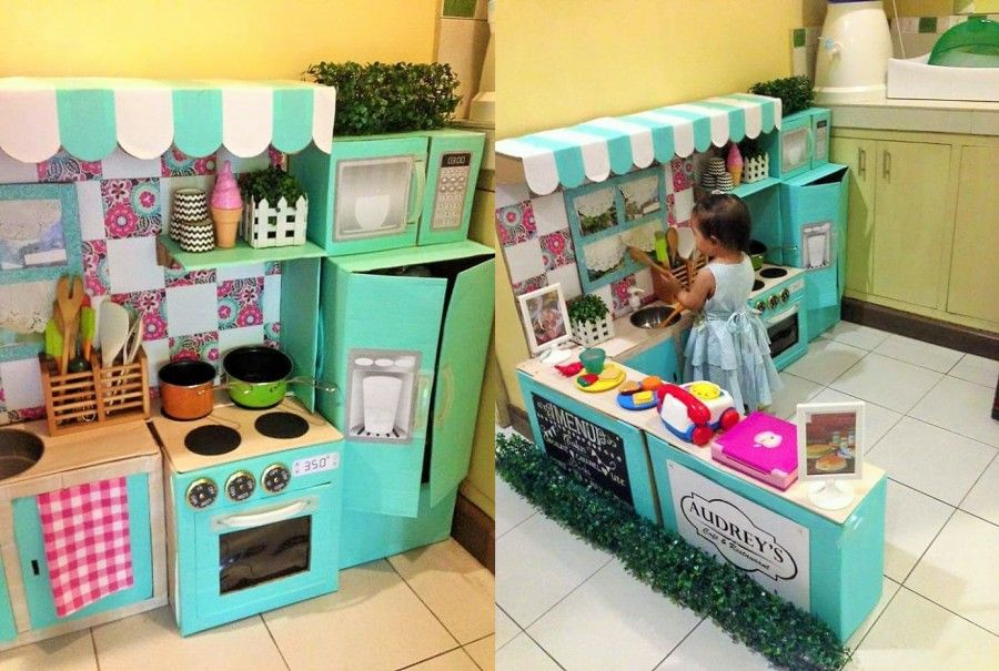 Una cucina di cartone fai da te per bambini felici bigodino - Mini cucina per bambini ...