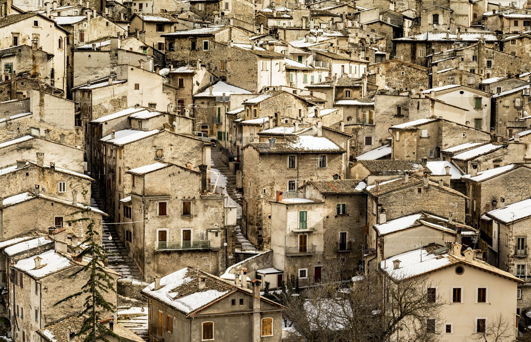 the view of the old village Scanno in Abruzzi region, Italy