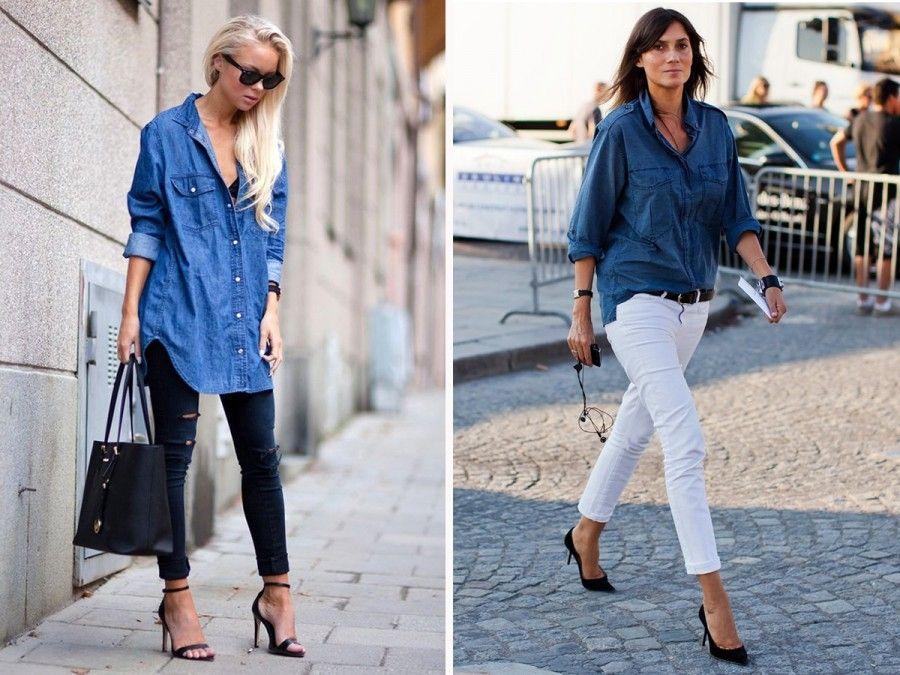 423341b36797 La camicia di jeans indossata con pantaloni skinny e scarpe alte