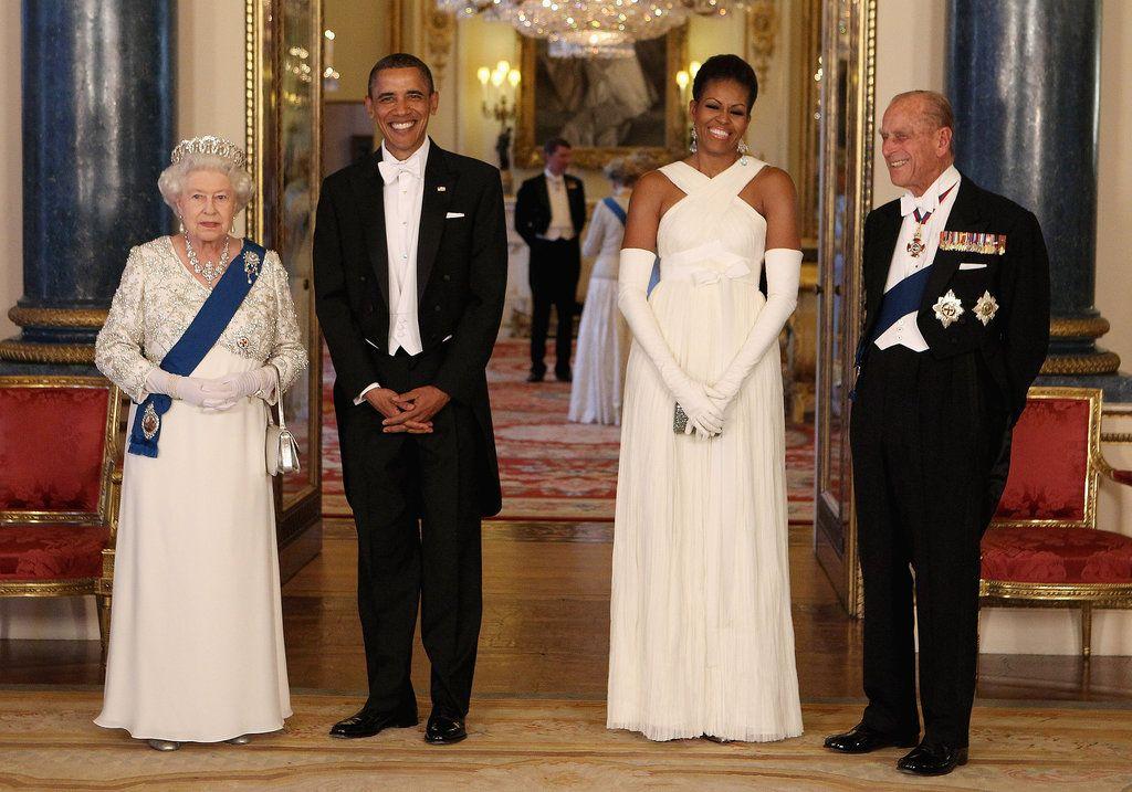 La Regina con la famiglia Obama