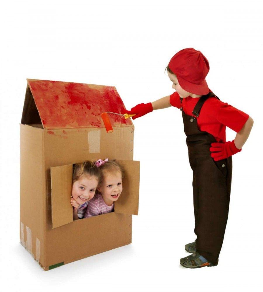 Casette di cartone per bambini fai da te bigodino - Casa di cartone ...