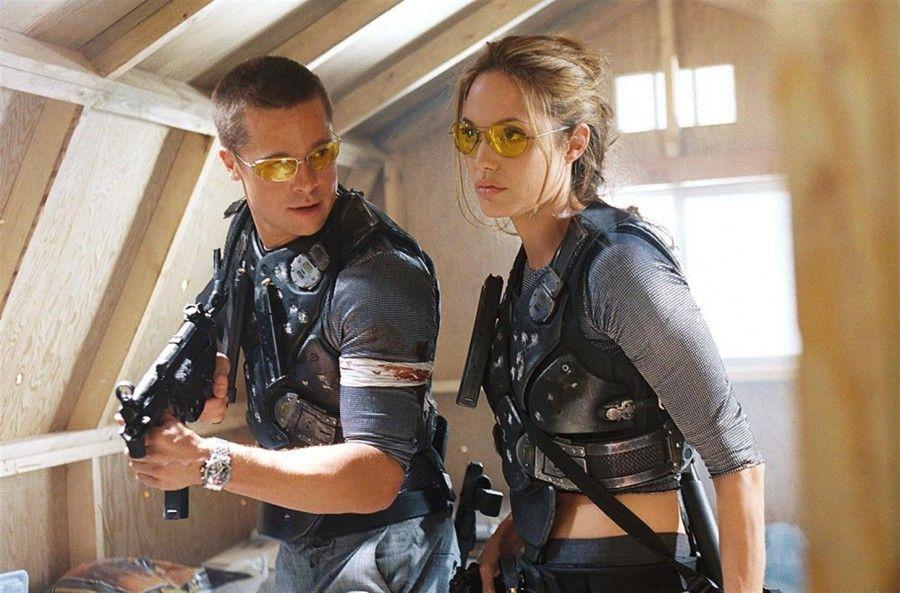 Brad Pitt ed Angelina Jolie in Mr. e Mrs. Smith