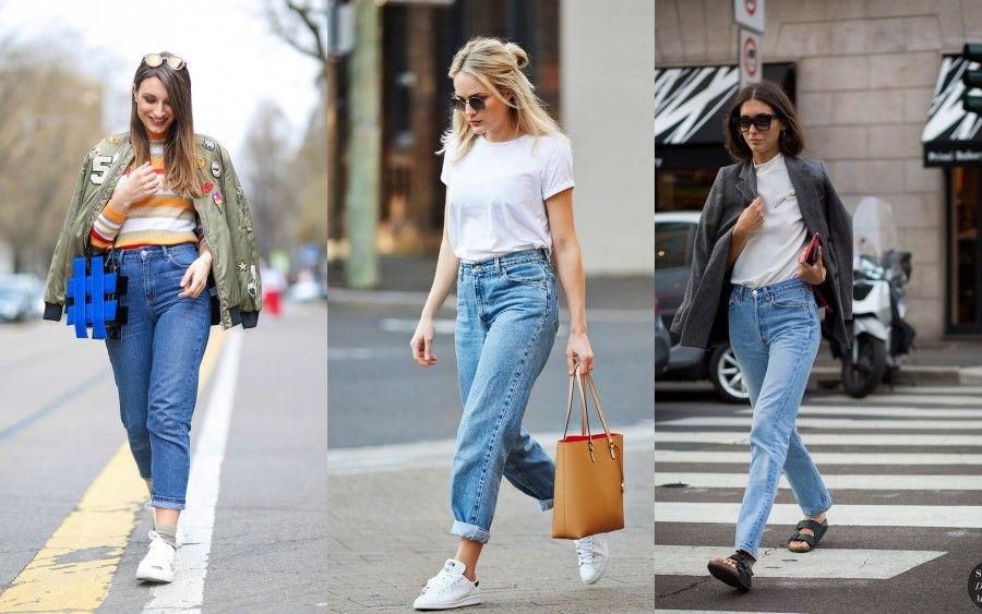 modelli mom jeans di pantaloni a vita alta