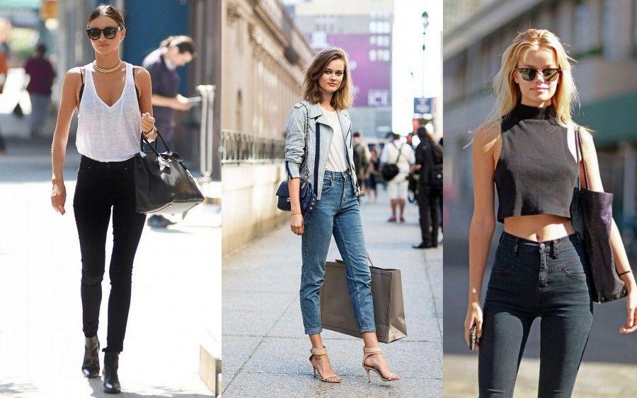 pantaloni a vita alta modello skinny