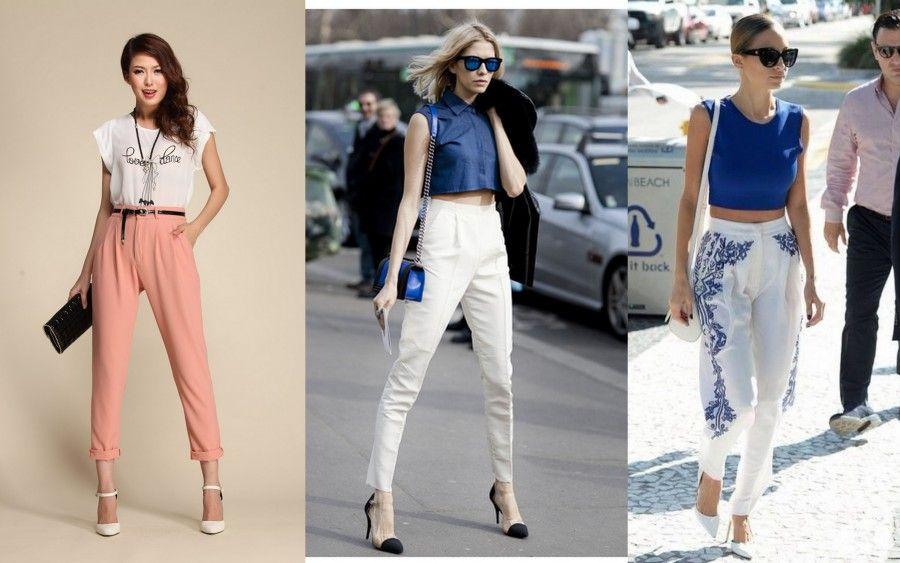 modelli morbidi di pantaloni a vita alta
