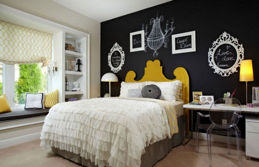 Nero-Temi-Camera-da-letto-Parete-Colore-Con-Studio-Reception-E-Parete-Swcoration-Con-Bianco-Telaio-Anche-Grande-Windows