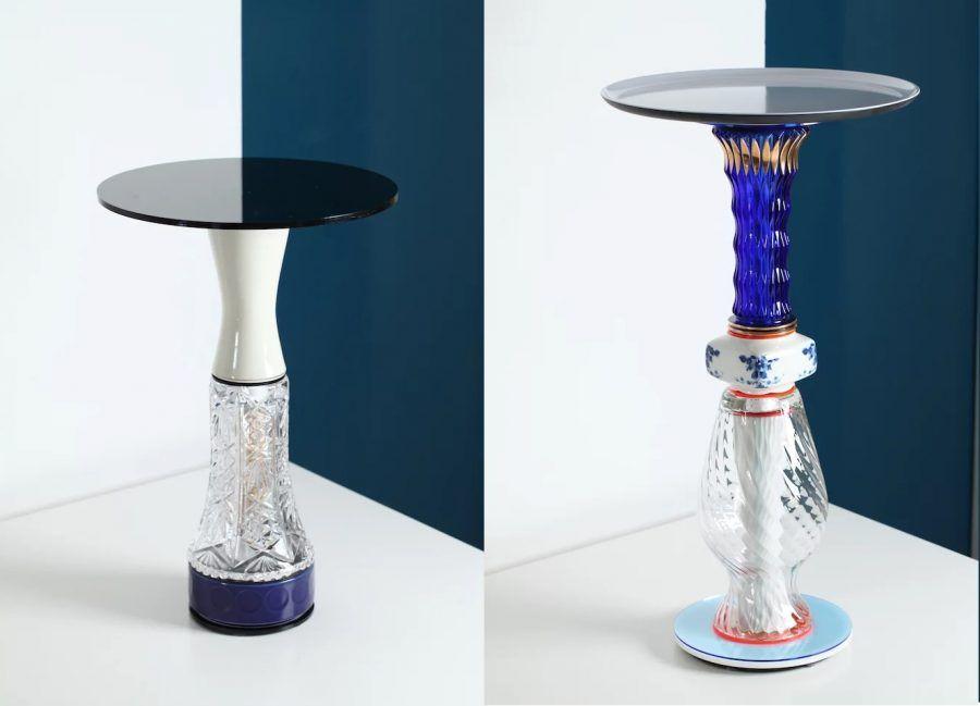 tavolini da salotto realizzati con pezzi di vasi bigodino. Black Bedroom Furniture Sets. Home Design Ideas