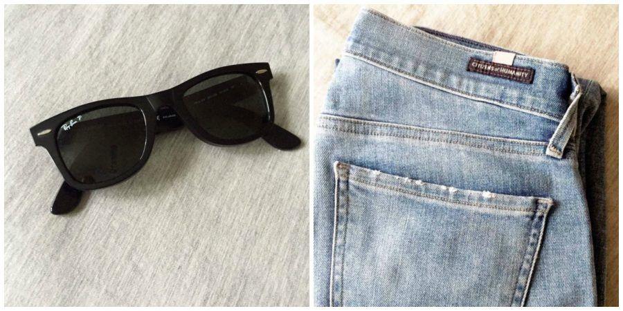 Occhiali da sole e jeans