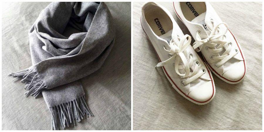 Sciarpa e scarpe da ginnastica
