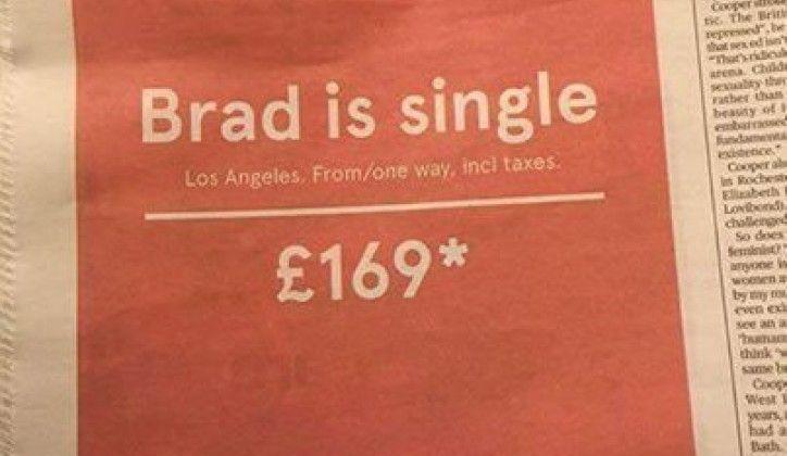 La pagina pubblicitaria Brad is single