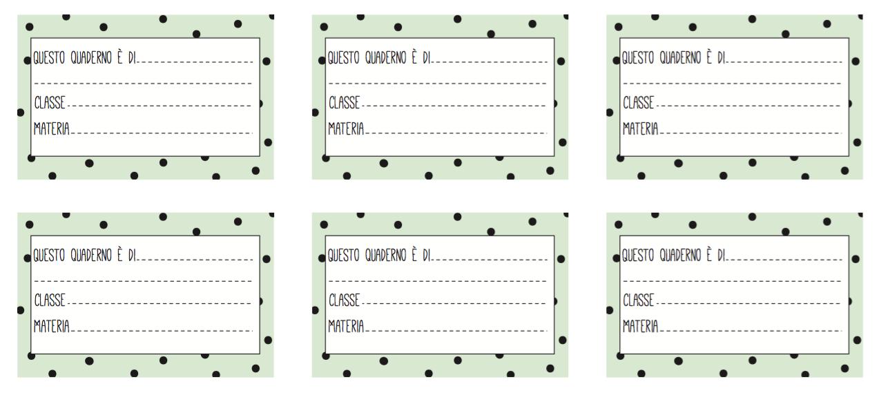 Molto Etichette per la scuola da stampare | Bigodino XI08