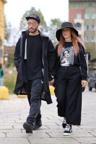 Street Style da Milano Moda Donna primavera-estate 2017, primo giorno: Federica Esse e Gregorio Perrucci