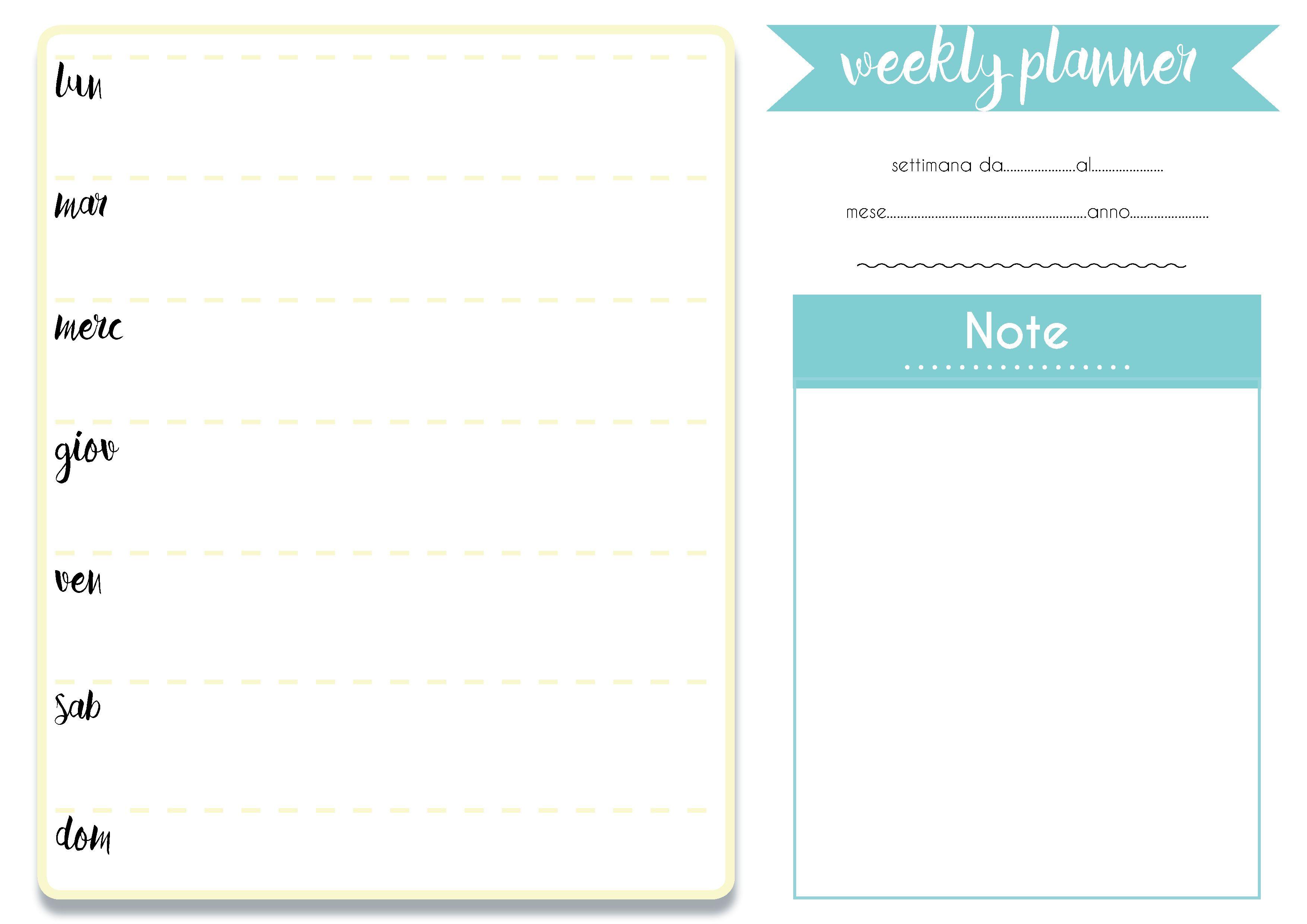 Super Il planner settimanale da scaricare e stampare | Bigodino PQ63