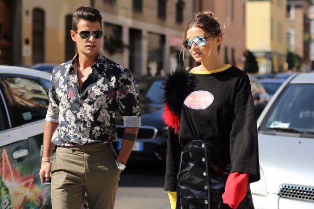 Milano Fashion Week primavera-estate 2017, street style: Frank Gallucci e Veronica Ferraro