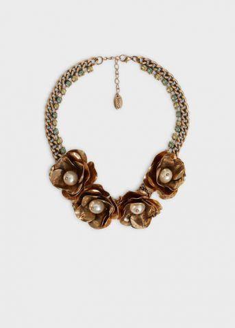 Collana fiori color bronzo e catena 19,90