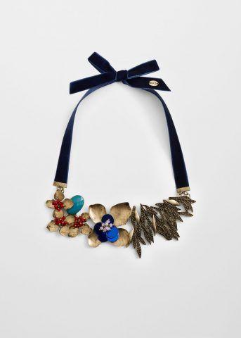 Collana fiori metallici e laccetto in velluto 19,90