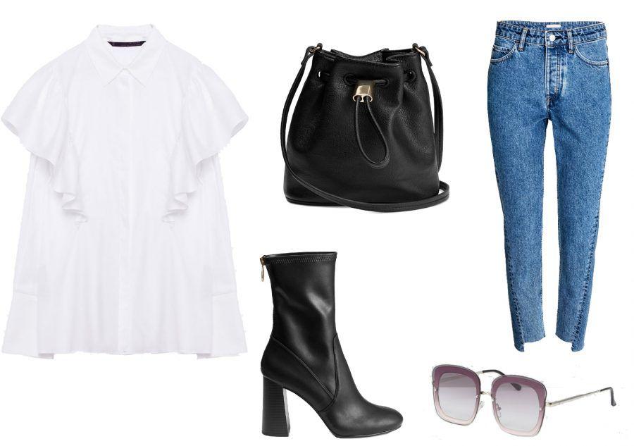 Camicia Zara 59,90 / Tronchetti H&M 49€ / Tracolla H&M 14,99€ / Occhiali Asos 19€ / Jeans H&M 30€