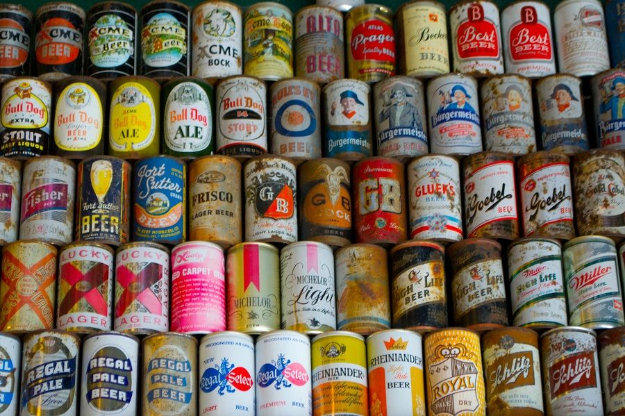 Lattine di birra vintage