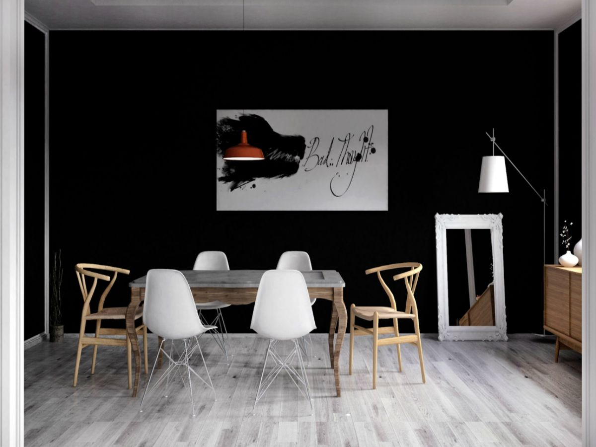 black-wall-dining-room