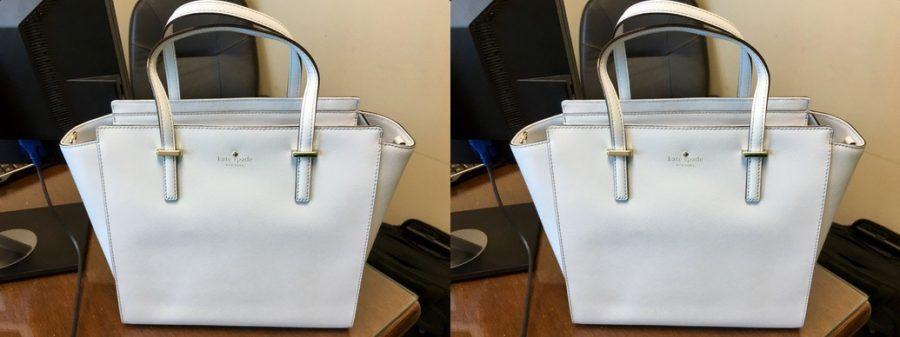 Questa borsa è bianca o blu?