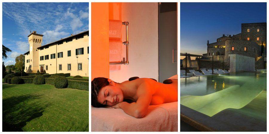 Da destra a sinistra, il Castello del Nero e il Castello di Velona Resort