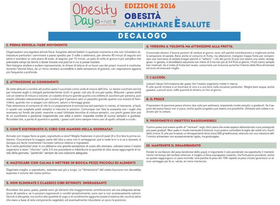 Il decalogo dell'Obesity Day 2016 per restare in forma
