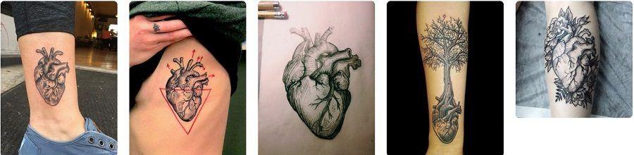 Diversi disegni di tatuaggi col cuore anatomico