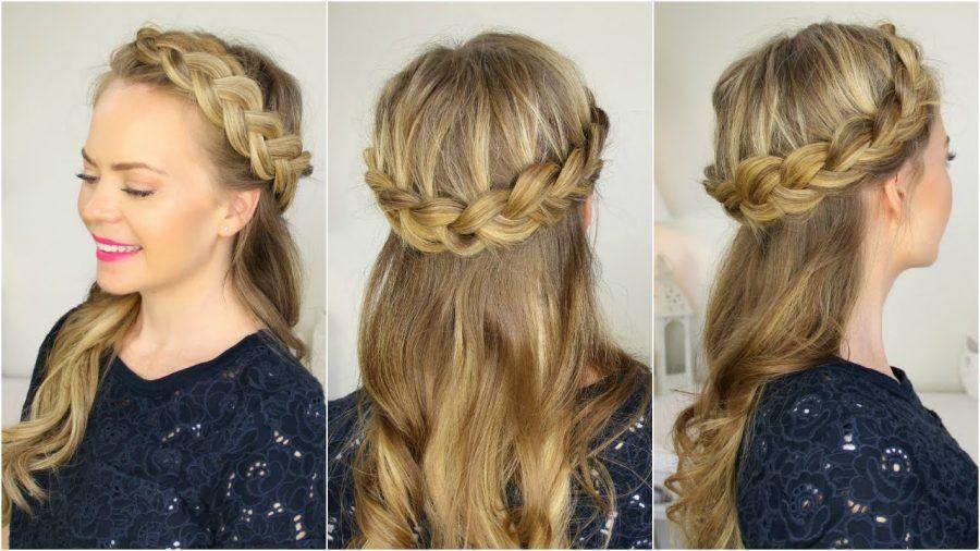 Corona di trecce con capelli sciolti