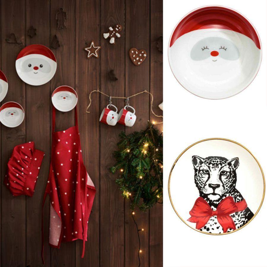 Piatto con Babbo Natale:€ 4,99. Piattino Leopardo: € 5,99