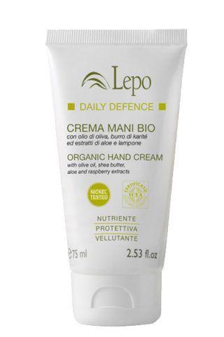 Crema mani bio di Lepo con olio d'oliva, burro di karité e estratti di aloe e lampone