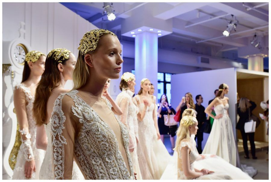 """NEW YORK, NY - APRIL 14: Models pose during the Galia Lahav Bridal Fashion Week Spring/Summer 2017 presentation on April 14, 2016 in New York City. (Photo by Eugene Gologursky/Getty Images for Galia Lahav)"""