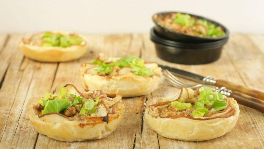 Mini torte salate con gorgonzola e pere