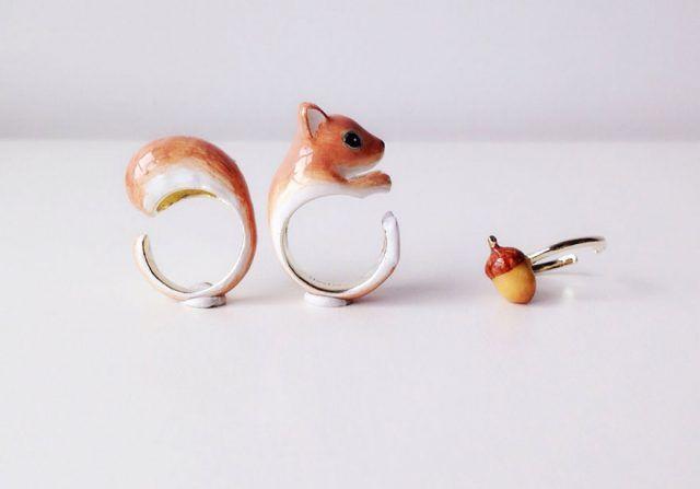 Anelli Mary Lou con animali: lo scoiattolino