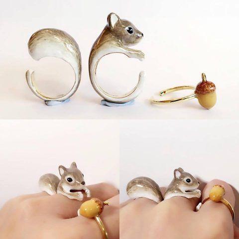 Anelli Mary Lou con animali: lo scoiattolo e la ghianda