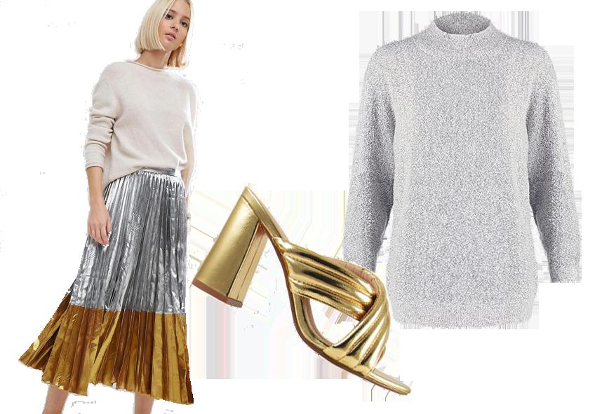 Gonna Asos 54€ / Sandali Lola Shoestique 30€ / Maglione Vero Moda 25€