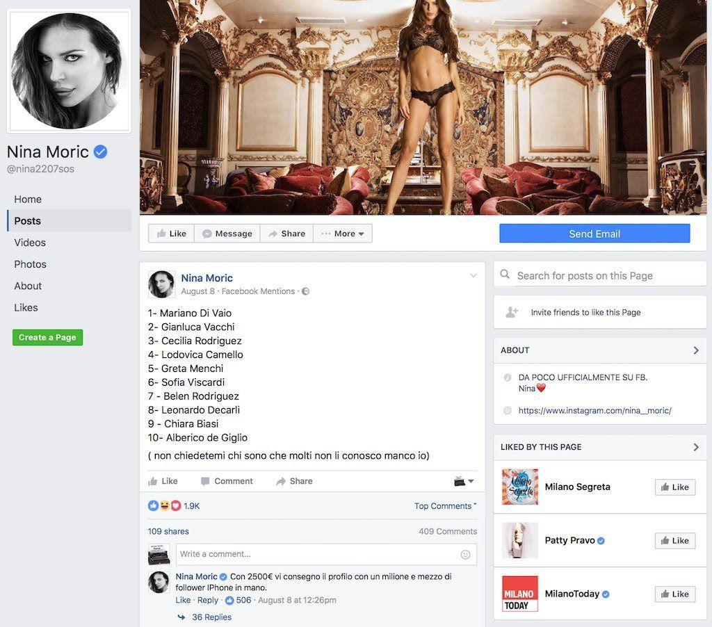 Compravendita di follower: la denuncia di Nina Moric