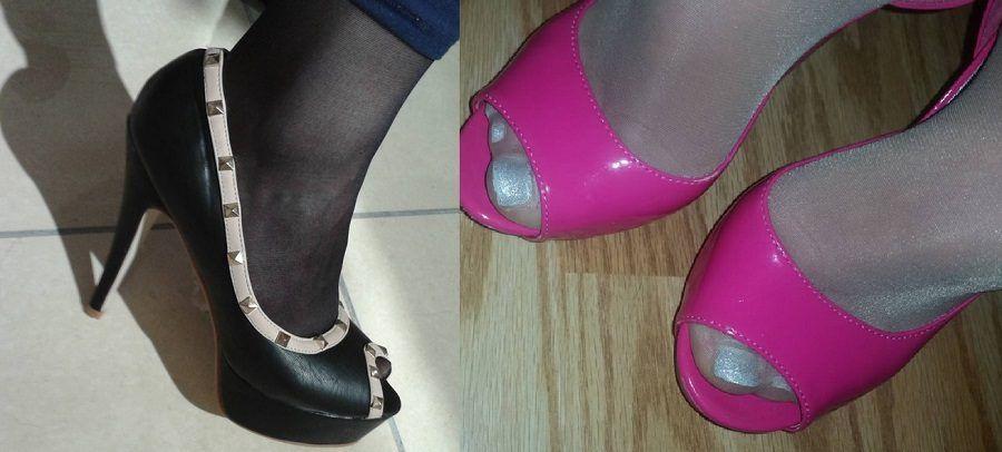 Open toe usate con le calze