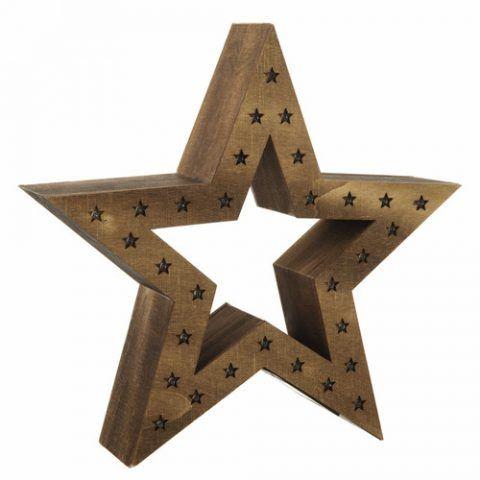 Stella luminosa in legno H 35 cm - 39.99 euro