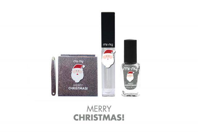 Mi-NY, Kit bag Christmas, con specchietto e pinzetta, 12.90 euro. Mi-NY, lucidalabbra, 10.90 euro. Mi-NY, Smalto Christmas Collection, 6.90 euro.