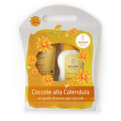 Weleda Delicatezze per il bambino: coccole di Calendula, con babywash corpo e capelli, crema fluida. 23 euro.