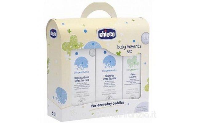 Chicco Trial Set Bagno Shampoo Pasta, contiene bagnoschiuma, shampoo e pasta lenitiva. 11,20 euro.