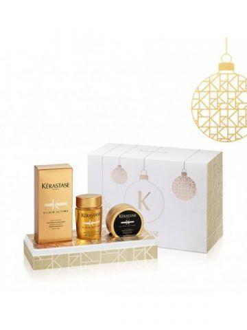 Kerastase Elixir Ultime Original Oil, Kit di Natale: olio per tutti i tipi di capelli. 49 euro.