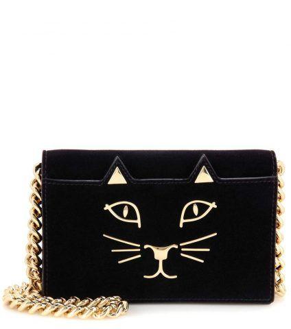 -Clutch portafogli Feline in velluto con decorazione Charlotte Olympia €577