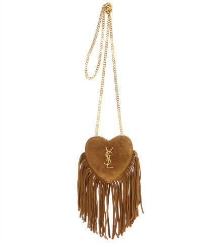 -Borsa a tracolla Love Heart Mini in suede con frange Saint Laurent €483