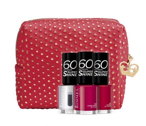 Rimmel Christmas Collection 2016 Limited Edition, Super Shine Kit: pochette rossa con pois dorati con trio di smalti (trasparente, Red Queen of Tarts, Fucsia Gimme some of that). 6.90 euro.