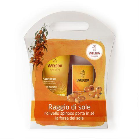 Weleda Trattamenti all'Olivello Spinoso, raggio di sole con doccia cremosa, crema mani. 17 euro.