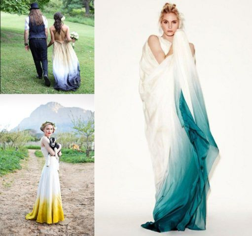 abiti da sposa 2017 dip-dyed: turchese e giallo